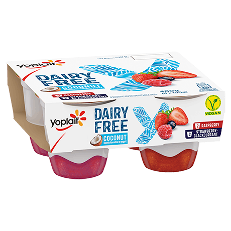 Yoplait Dairy Free Raspberry And Strawberry-Blackcurrant 4-pack