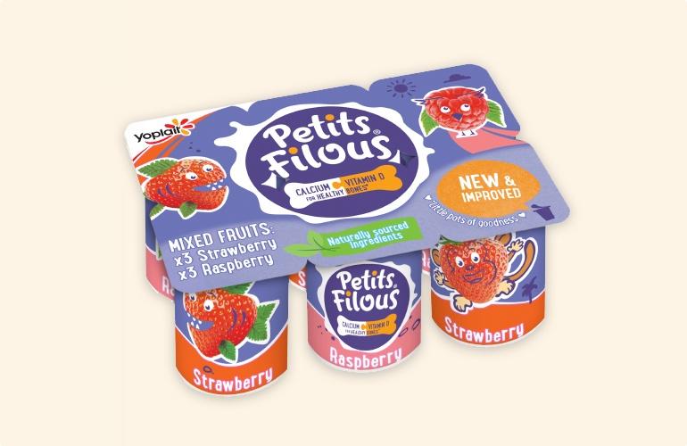 Yoplait Kids Brands Petits Filous Strawberry & Raspberry Flavour Pack